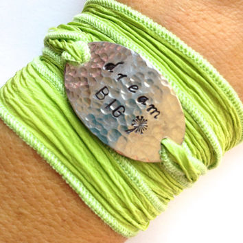 Dream Big Inspirational Silk Wrap Bracelet Hand Stamped - Dandelion - Free Spirit - Gifts For Her