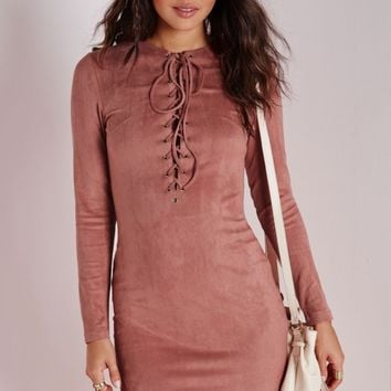 EYELET DETAIL FAUX SUEDE BODYCON DRESS ROSE