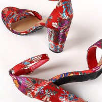 Bamboo Floral Brocade Satin Open Toe Ankle Strap Chunky Heel