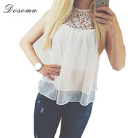 Blusas femininas 2015 Plus Size Summer Sleeveless Lace Flower Crochet Chiffon Shirt Women Casual Loose White Crop Tops Clothing