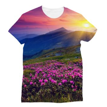 Pink Flower Medow Perfect Mountain Range Sunset Subli Sublimation T-Shirt