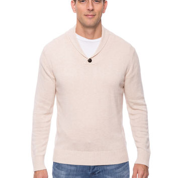 Cashmere Blend Shawl Collar Pullover Sweater - Stone