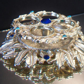 Vintage Ornate Lipstick Holder Vanity Hollywood Regency Blue Rhinestone Dressing Table