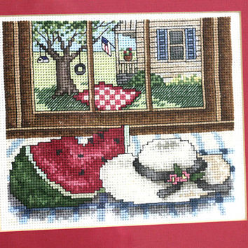 Finished Embroidery | Cross Stitch Framed with Dark Pink Mat Ready to Hang | Summer Scene Watermelon Sunhat Picnic and Flag Picture