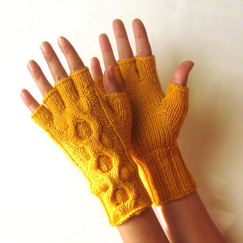 Mustard Yellow Cable Fingerless Gloves Short Arm Warmers Half fingers Wool Hand Warmers Knit Fingerless Mittens Winter Womens Mitts - KG0075