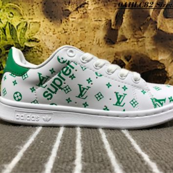 KUYOU A449 Adidas SMS LV x Supreme Leather Casual Low Skate Shoes Green