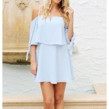 Light blue off the shoulder overlay dress with tie sleeve | Lilly | escloset.com