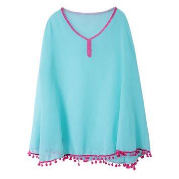 Simple Design V-Neck Batwing Sleeve Sleeve Chiffon Women's Blouse