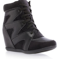 Zig-Zag Leather- and Suede-Look Wedge Sneakers - Rainbow