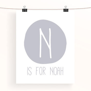 Grey nursery print - letter N is for Noah - gray baby boy name initial nursery art - monogram print - typography print - kids wall art
