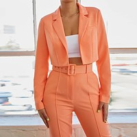 Summer new women's fashion slim long sleeves without buckle solid color small suit two-piece