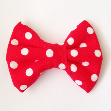 Red with White Dots Handmade Bow (Modern Handmade Bow / Bow Tie / or Headband)