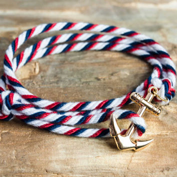 Nautical rope anchor bracelet - White, navy and red