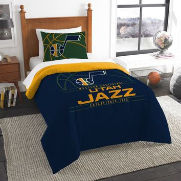 """Jazz OFFICIAL National Basketball Association, Bedding, """"Reverse Slam"""" Printed Twin Comforter (64""""x 86"""") & 1 Sham (24""""x 30"""") Set  by The Northwest Company"""