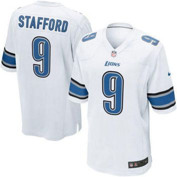 PEAPON NFL Nike Detroit Lions Mens Stafford White Game Jersey