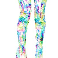 Tie Dye Planetary Thigh-High Boots