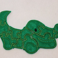 Felt alligator puzzle embroidered, embroidery jigsaw puzzle learning toy, activity, quiet game, kids toys, montessori, homeschool, busy book