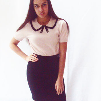 90s Pencil Skirt XS / Navy Wool Skirt / Preppy Skirt / MINIMALIST / Minimal / High Waist