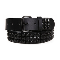 Three Row Black Pyramid Stud Belt | Hot Topic