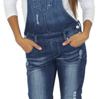 Dollhouse Juniors Distressed Skinny Leg Denim Overalls