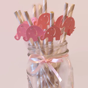 elephant straws, pink and gray baby shower decorations, ready in 3-5 weekdays, baby elephants, 10CT