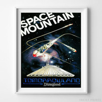 Disneyland Print Space Mountain II Tomorrowland Disney Poster Decor UNFRAMED by Inkist Prints