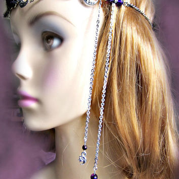 Amethyst Circlet, Triple Moon Goddess Headdress, Ritual Circlet