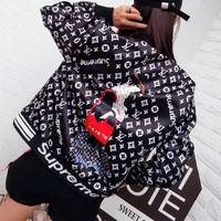 """Louis Vutitton LV×Supreme"" Women Fashion Logo Letter Pattern Print Long Sleeve Baseball Clothes Zip Cardigan Coat"