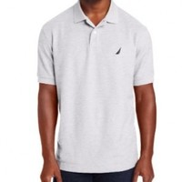 Nautica Men's Short Sleeve Solid Deck Polo, Grey Heather, Large
