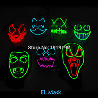 EL wire mask Light Up Neon skull LED Mask For Halloween party and concert scary party theme cosplay Payday Series Masks By DC-3V