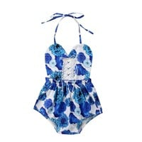 Floral Newborn Toddler Baby Girl Floral Romper Sleeveless Backless Strap Lace Jumpsuit Outfits Sunsuit Summer