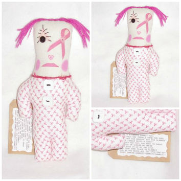 PINK Doll Cancer Dammit Doll Swear Stress Art Doll Home Decor  by FosterChildWhimsy