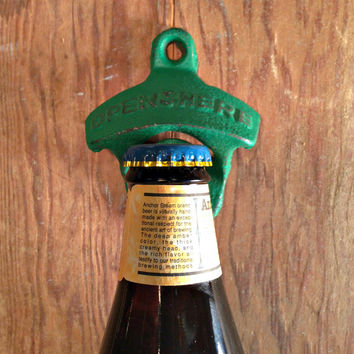 Rustic bottle opener dark green wall mount beer bottle opener dad gift stock the bar gift, cast iron bottle opener
