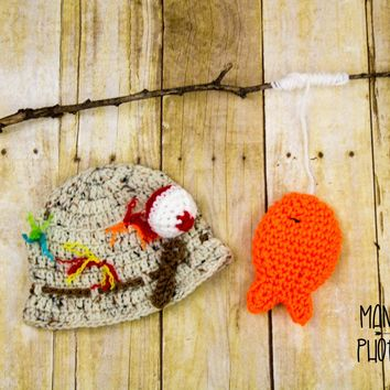 Little Fisherman Outfit. Crochet Hat and Stuffed Fish