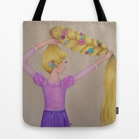 Rapunzel the Lost Princess Tote Bag by Sierra Christy Art