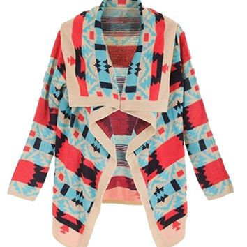 Women's Asymmetric Hem Aztec Long Sleeve Cardigan Sweater (L, 1-Multicolor)