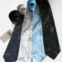 Contour Map Necktie. Topographic Map silk tie. Men's nautical print, seafloor tie. Cartographer, geography gift, man who loves travel.