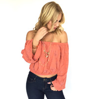 Wait On It Off Shoulder Blouse In Rust
