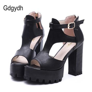 Gdgydh Hot Sale 2017 New Brand High Heels Sandals Summer Platform Sandals for Women Fa