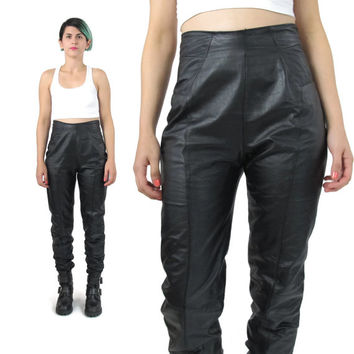 80s Black Leather Pants High Waisted Leather Pants Skinny Leather Pants Minimalist Paneled Leather Trousers Black Leather Biker Pants (S)