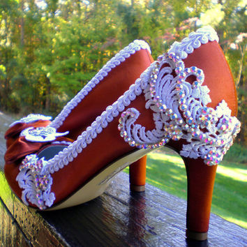 Custom orange wedding shoes Swarovski by TheCrystalSlipper on Etsy