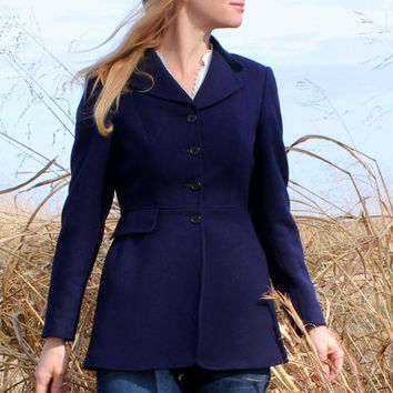 XS Wool Riding Jacket by Harry Hall in Navy Blue / English Equestrian Show / Fox Hunting Jacket / Vintage