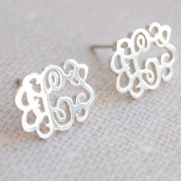 Monogram Earrings 925 Sterling Silver 0 5 Mon