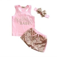 """3PC """"Birthday Babe"""" Pink Outfit Gold Sequins Matching Headband"""
