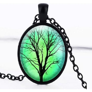 Glass Cabochon Tree Of Life Dome Pendant Necklace