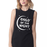 Child of the Night Sleeveless Tee White on Black