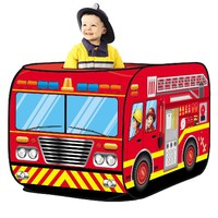 DIY Creations Play Tent Red Fire Truck Boy Kids Cubby Pop Up House Indoor Outdoor Party