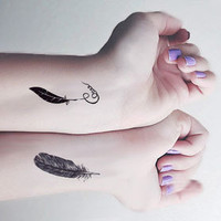 InknArt Temporary Tattoo - 2pcs Feather Set wrist tattoo body sticker fake tattoo quote