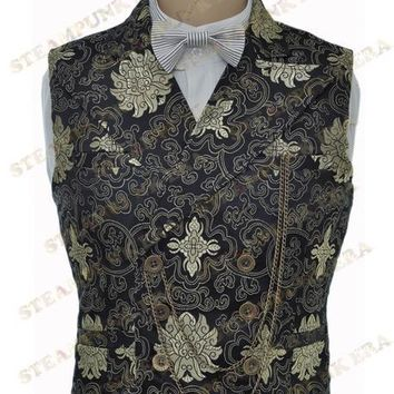 Free Shipping  Halloween Costume Black Jacquard Floral Victorian Steampunk  Waistcoat