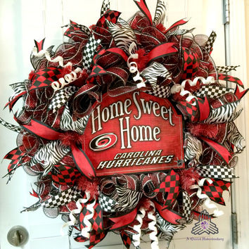 Deco Mesh Home Sweet Home Carolina Hurricanes Ruffle Wreath - Sport Wreath - Sport Decor - Sport Door Wreath - Hockey Wreath
